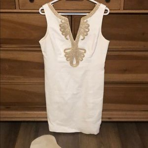 Lily Pulitzer white and gold dress